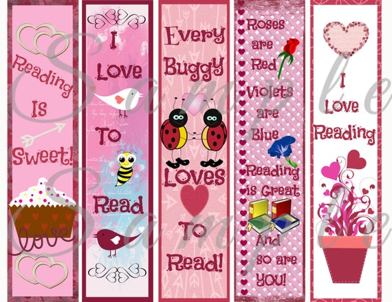 Cute Valentines Day Kid Bookmarks Love Bug Pink Party Favor