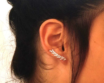 Leaves Ear cuff ,  STERLING SILVER Ear climber , Leaves Earrings , Nature jewelry , Delicate ear cuff.