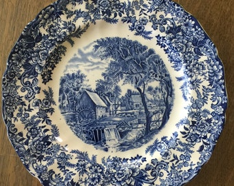 "3 Jonson Bros MILL STREAM blue dinner plate (s) 10"" Made in England"