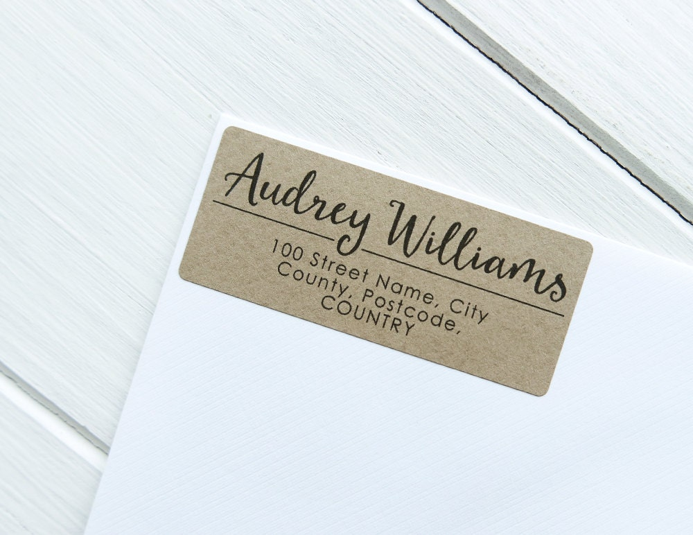 30 custom return address labels personalized kraft brown for Cool return address labels