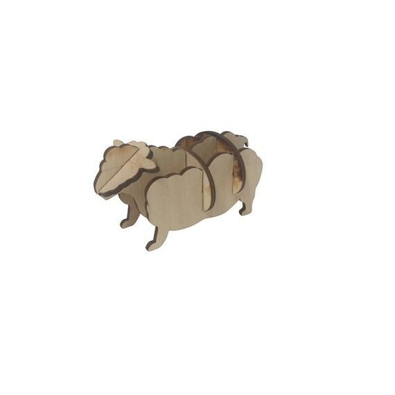 Wooden Sheep Kid's Toy Wooden Model Animals Miniature