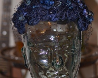 Vintage Estate Navy Blue Petals Veil Hat