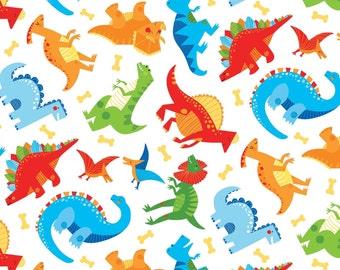 Toss Dinos White by Wilmington Prints Fabrics Boy Dinosaurs Blue Green Orange