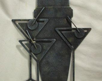 Wall Decor, Metal Martini Glasses and Shaker, Steel