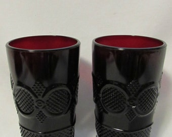 AVON 1896 Cape Cod Collection, Large Tumblers, Set of Two, Ruby Red Glass, 1970's