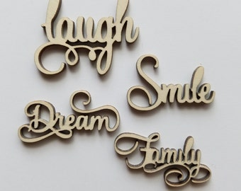 Laser Cut Word Cut Outs ( Family, Dream, Laugh, Smile) Embellishments Scrap Booking