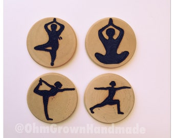 Yoga pose magnets set of four YOGI yoga poses stretching Ohm Relax Office Zen Hot Yoga Exercise Mantra