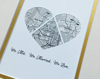 We Met, We Married, We Live -Husband or Wife First Anniversary Gift - One Year 1st Anniversary- Personalized Gift For Husbands or Wives