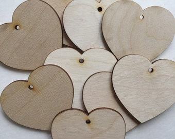 "25 - 3"" Wood Hearts - Unfinished Wood Heart with Holes"