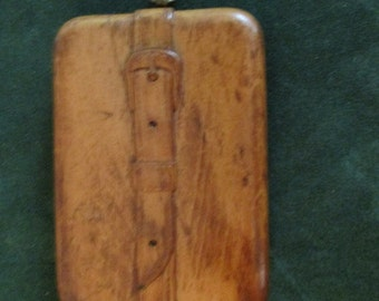 Unusual Carved Wood Wallet Travel Manicure Kit