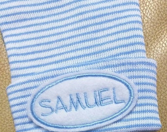 Newborn Hospital Hat Monogramed with Name! For a BOY or Girl! You Choose Hat and Applique Color. 1st Keepsake! Super Cute!