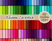 SALE 100 cardstock digital paper rainbow cardstock texture scrapbooking kit printable cardstock 12x12 pastel cardstock bright cardstock clip