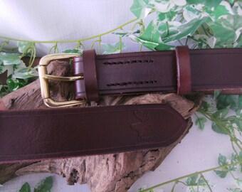 Full saddle stitched bushcraft belt, genuine leather belt