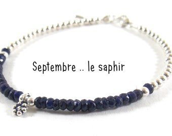 BIRTHSTONE :Born in september sapphire. Give her the stone of month of birth on a pretty silver bracelet 925.