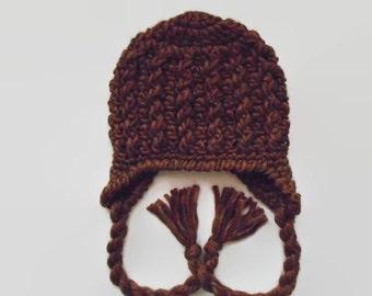 Winter baby boy hat, wool baby hat, newborn boy hat, baby boy hat, earflap baby hat, brown baby hat, newborn hat, baby hat for boys