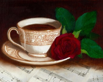 Rose Painting, Teacup Painting, Red Rose and Tea 5x7 print of original painting by Amelia Nowak