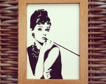 Audrey Hepburn / Holly Golightly, Breakfast at Tiffany's portrait.  Original framed watercolour - painted to order