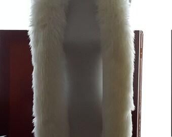 """72"""" White/Off White Faux Fur Scarf Wrap Shawl"""
