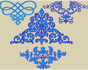Machine Embroidery Designs - Scroll Assortment 7 - 9 designs in varying sizes