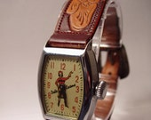 Dale Evans Wind Up Wristwatch with Original Sterling Silver & Leather Band WORKS