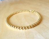 Gold, Beads, Bracelet, 7.5 inch, Jewellry