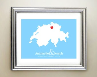 Switzerland Custom Horizontal Heart Map Art - Personalized names, wedding gift, engagement, anniversary date