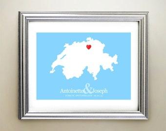 Switzerland Custom Horizontal Heart Map Art - Personalized names, wedding gift, engagement, anniversary date