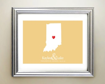 Indiana Custom Horizontal Heart Map Art - Personalized names, wedding gift, engagement, anniversary date
