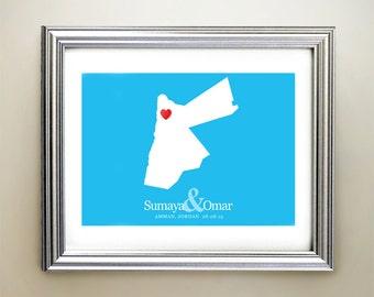 Jordan Custom Horizontal Heart Map Art - Personalized names, wedding gift, engagement, anniversary date