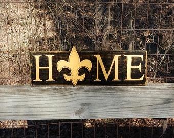 New Orleans Saints Home Sign, Louisiana Saints, Rustic Home, Southern Decor, Farmhouse decor, Man Cave, Cajun, Fluer de lis Home sign