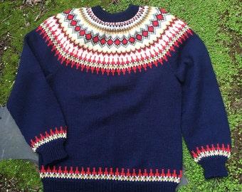 Handmade fair isle Norwegian sweater by Bergenkofter. size childrens large