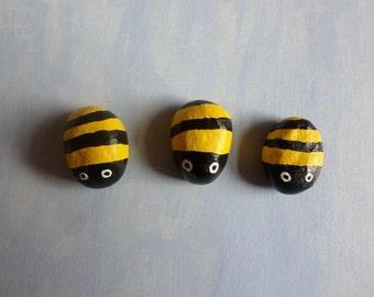 Trio of mini clay bees