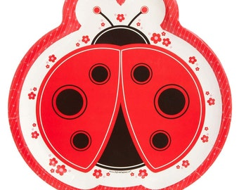 8 Count - Ladybug Dinner Plates - Baby Shower or Birthday Party Supplies