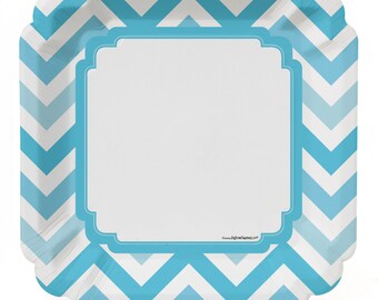8 Count - Chevron Blue Dinner Plates - Baby Shower or Birthday Party Supplies