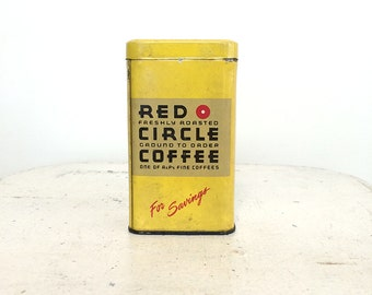 Vintage Red Circle Coffee Tin Coin Bank