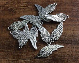 25pcs 28mm x 11mm Antique Silver Angel Wing Charm ,Angel Wing Pendant ,Angel wing Bracelet