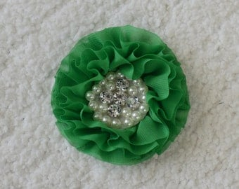 "3"" Chiffon Rhinestone Flower Heads, Wholesale Chiffon Hair Flowers for Flower Headbands Baby, Lot of 1, 2, 5 or 10, Green"