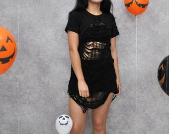 Bonita Day of The Dead Black Mini Shredded Distressed T-shirt Dress