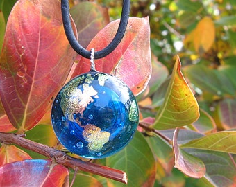 Fused Dichroic Glass Earth Globe Pendant