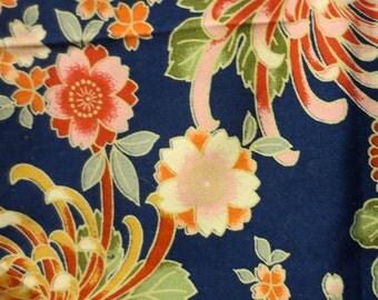 Dark Blue Japanese Floral fabric