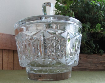 Vintage Lead Crystal Candy Dish Pineapples and Lattice Designed