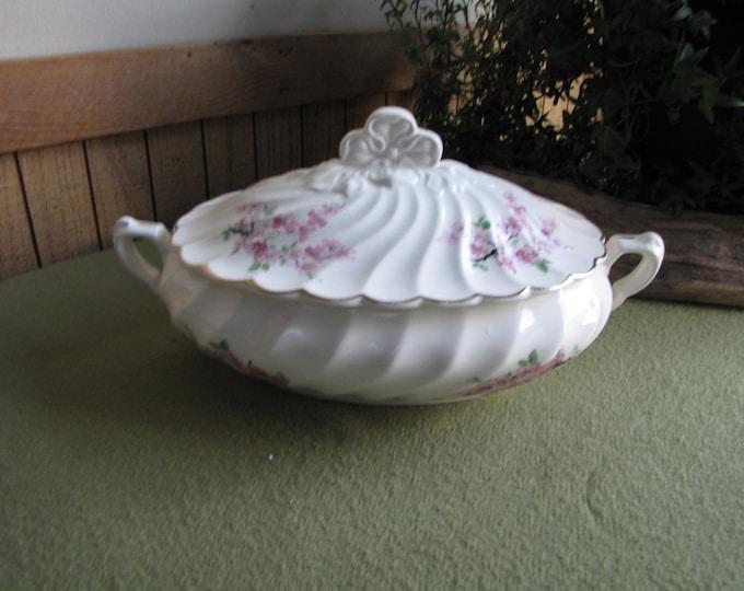 Vintage Apple Blossom Covered Vegetable Dish Pink Blossoms Covered Serving Bowl