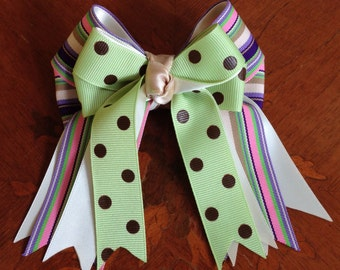 Shorty Hair Bows for Horse Shows/St Patricks Day/Green,Brown,Pink,Purple/Shorty/Ready2Mail with clips