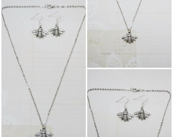 Silver Bumbleebee/Honeybee Necklace and Earring Jewelry Set - Ready to Ship