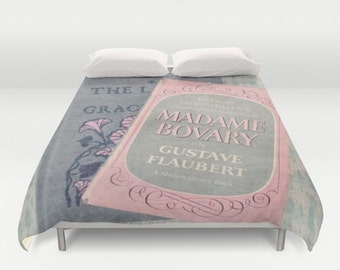 Pink and Gray Books Comforter or Duvet Cover: home decor, bedding, book, books, Madame Bovary, blanket, comforter