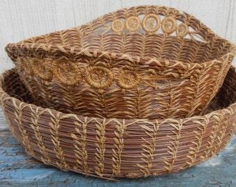 Pair of Vintage Pine Needle Baskets!