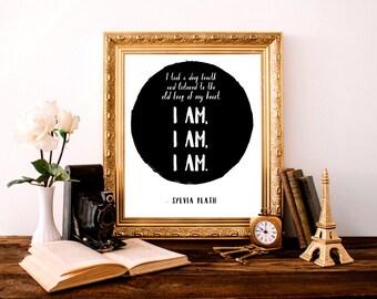 Sylvia Plath The Bell Jar I Am I Am I Am Typography Decor Wall Art 8x10 Poster Print