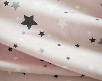 Lovely Stars Pattern Pink Cotton Fabric by Yard