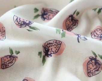 Strawberries Pattern Double Cotton Gauze Fabric by Yard