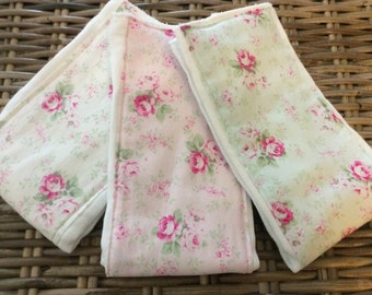 Shabby Chic baby burp cloth set on Oso Cozy cloth diapers